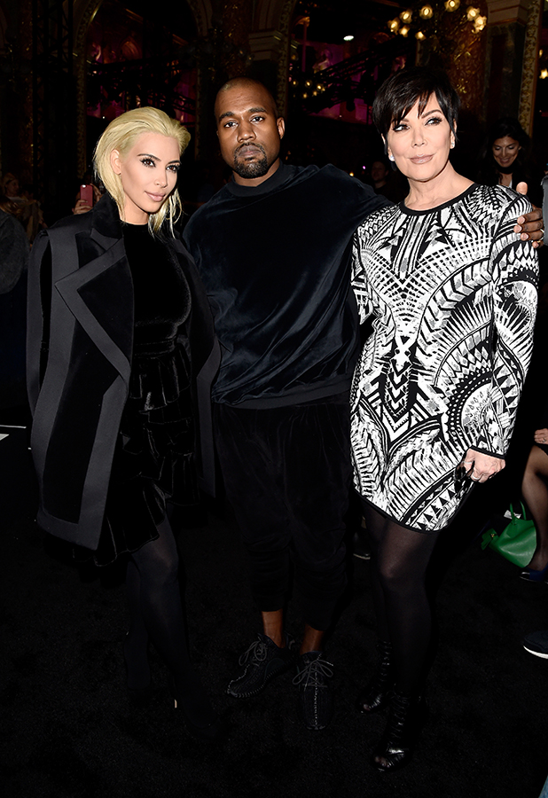 Kim Kardashian, Kanye West and Kris Jenner attend the Balmain show as part of the Paris Fashion Week Womenswear Fall/Winter 2015/2016 on March 5, 2015 in Paris, France.