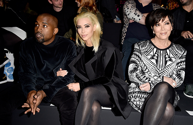 Kim Kardashian, Kanye West and Kris Jenner attend the Balmain show as part of the Paris Fashion Week Womenswear Fall/Winter 2015/2016 on March 5, 2015 in Paris, France. (Photo by Pascal Le Segretain/Getty Images)