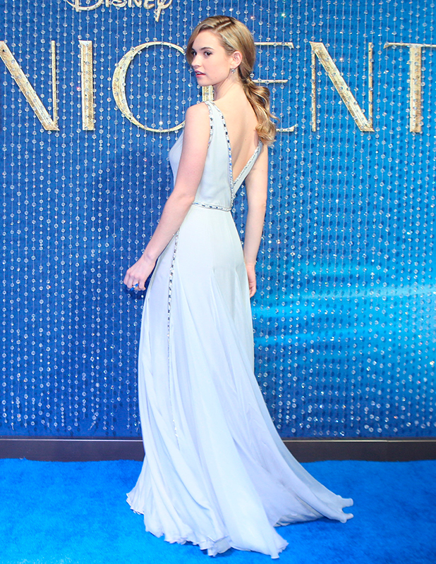 British actress Lily James attends the Blue Carpet of Disney's new movie 'Cinderella' at Cinemex Antara on March 05, 2015 in Mexico City, Mexico.
