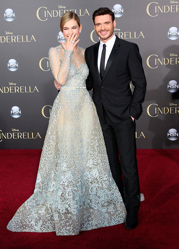 Lily James and Richard Madden, Los Angeles premiere of Disney's 'Cinderella' at at the El Capitan Theatre, 1 March 2015