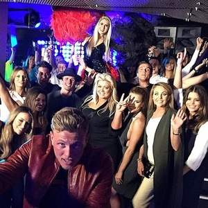 Tommy Mallet and TOWIE co-stars for 'Battle of the Clubs', Circuit, Essex 8 March