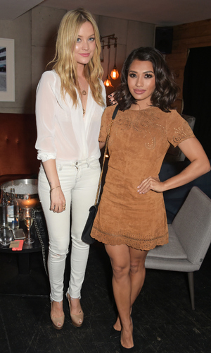 Laura Whitmore and Vanessa White at Millie Mackintosh fashion launch dinner (10 March)