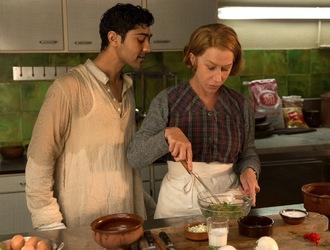 helen mirren & manish dayal making omelettes  in The Hundred-Foot journey