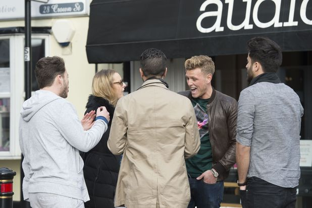 Tommy Mallet and James Diags Bennewith clash during TOWIE filming, Essex 11 March