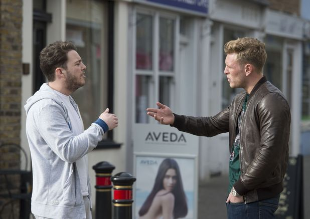 Tommy Mallet and James Diags Bennewith clash in the street during TOWIE filming, Essex 11 March
