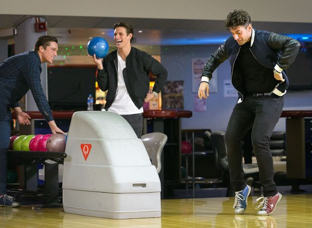 Lewis Bloor, Jake Hall and James Argent filming at bowling - 11 Mar 2015