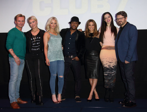 S Club 7 attend a press conference at Ham Yard Hotel on November 17, 2014 in London, England.