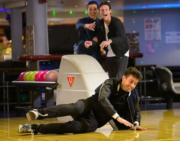 Lewis Bloor, Jake Hall and James Argent filming at bowling, where Arg falls over - 11 Mar 2015