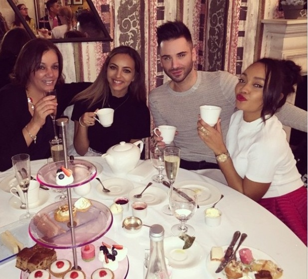 Little Mix Jade Thirlwall and Leigh-Anne Pinnock enjoying Cinderella screening with Debbie Pinnock and Aaron Carlo