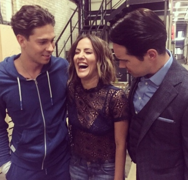 Caroline Flack films the new series of Celebrity Juice with Joey Essex - 12 March.
