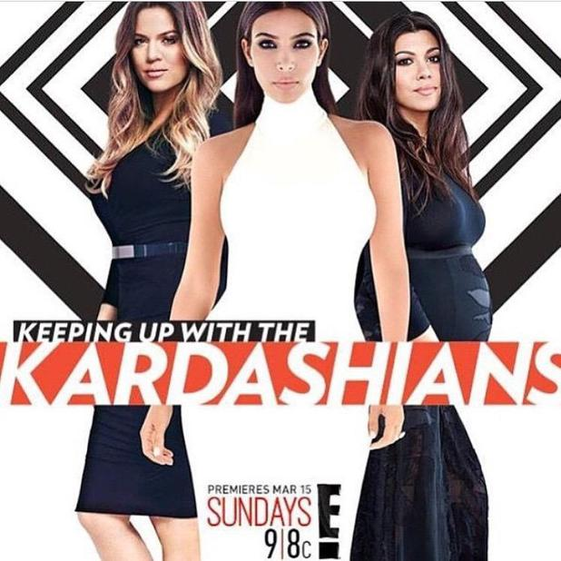 Kim Kardashian and sisters Khloe and Kourtney appear in promo shot for 10th series of Keeping Up With The Kardashians starting on 15 March 2015.