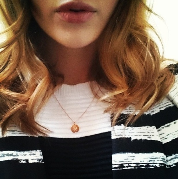 """Rosie Fortescue wearing """"R"""" necklace, 11/3/15"""
