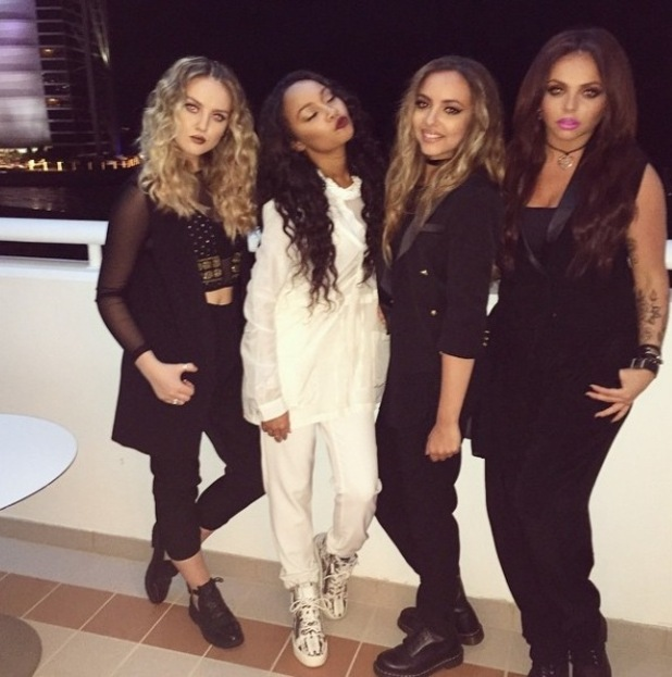 Little Mix - Perrie Edwards, Leigh-Anne Pinnock, Jade Thirlwall, Jesy Nelson in Dubai for X Factor performance, 11/3/15
