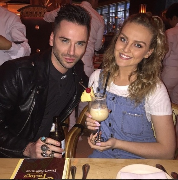 Perrie Edwards in The Cheesecake Factory, Dubai, with hairdresser, Aaron Carlo