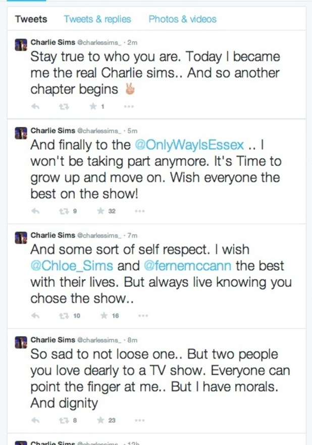 TOWIE's Charlie Sims says he's quit Essex, 12 March 2015