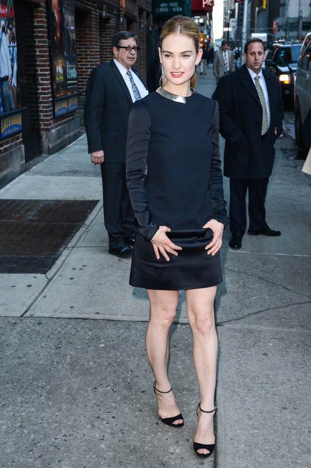 Cinderella actress Lily James rocks a sexy LBD last night in New York (9 March)
