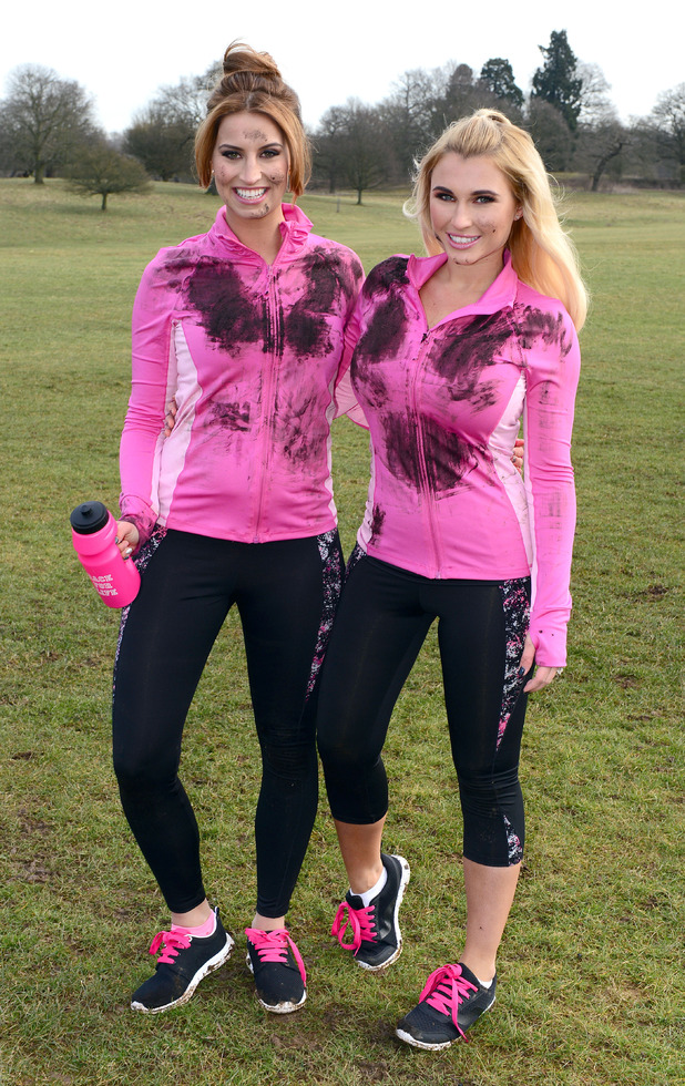 TOWIE's Billie Faiers & Ferne McCann tackle muddy assault course for Cancer Research UK - 9 March 2015.