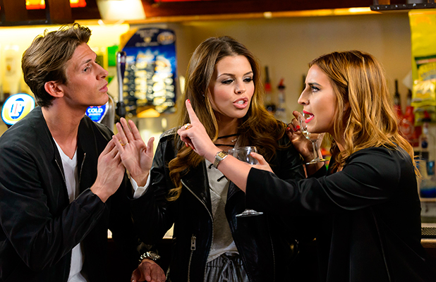 The Only Way is Essex' cast filming, Britain - 11 Mar 2015 Jake Hall, Chloe Lewis and Ferne McCann