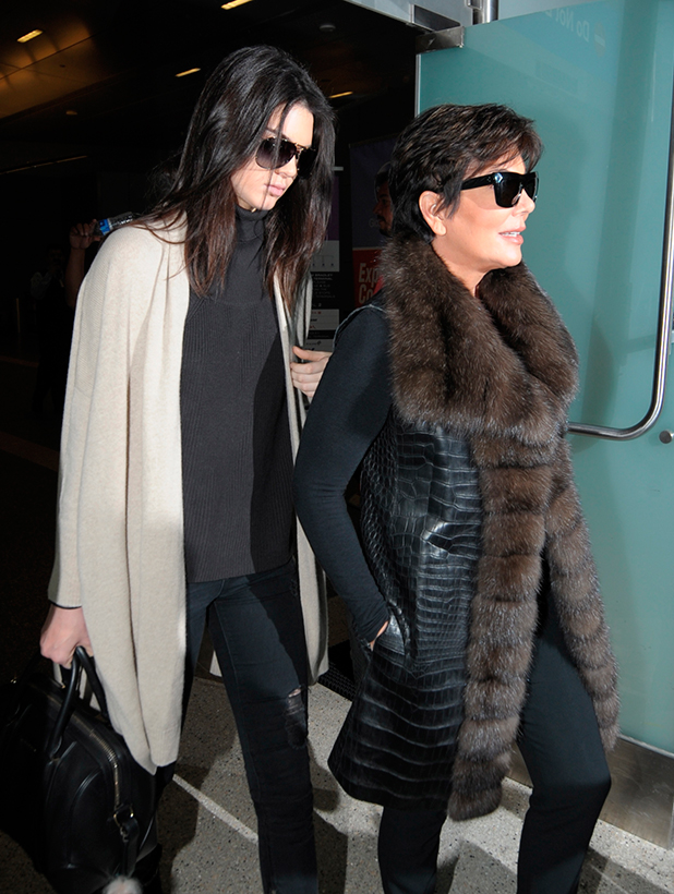 Kris Jenner and Kendall Jenner arrive at Los Angeles International Airport (LAX) 11 March 2015
