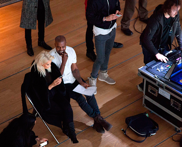 Kim Kardashian and Kanye West backstage at Fondation Louis Vuitton, Paris, France - 07 Mar 2015 7 Mar 2015