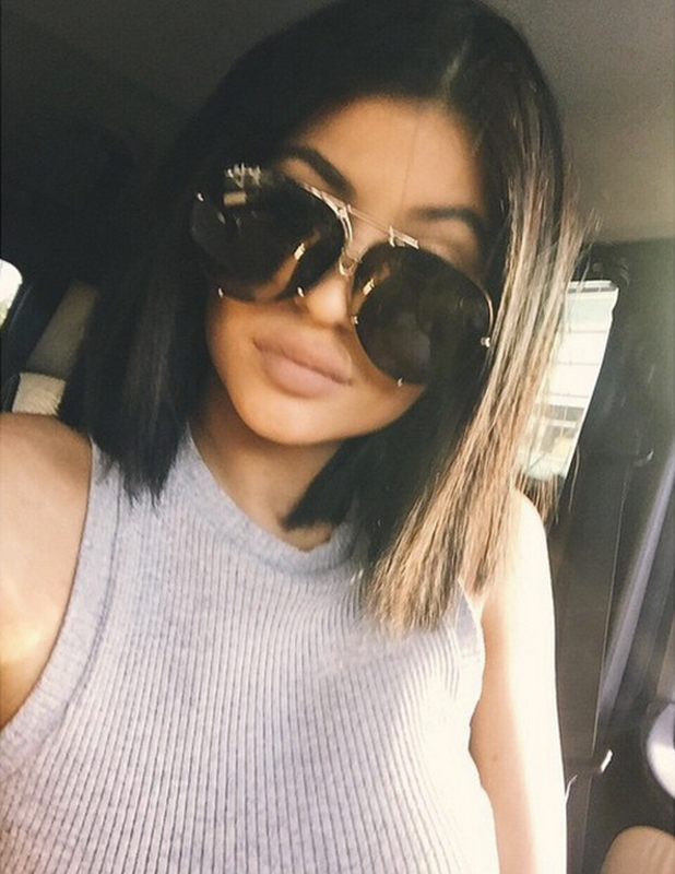 Kylie Jenner shows off new short hair, LA, 7 March 2015