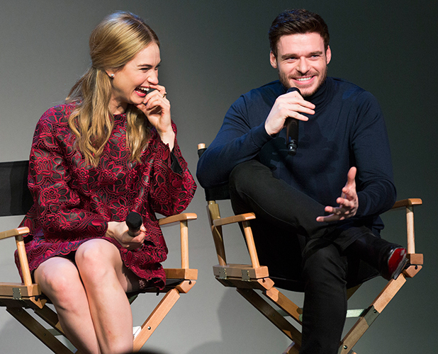 Lily James and Richard Madden at Apple Soho Store, to promote Cinderella, 8 March 2015