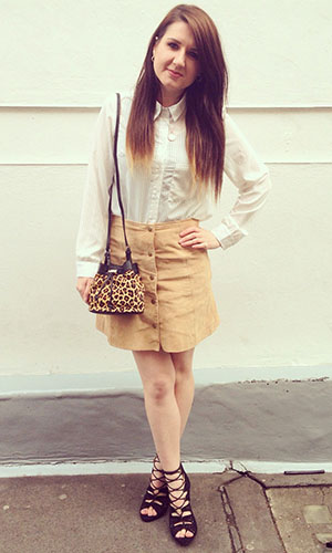 Fashion assistant Harriet Davey wearing suede skirt 13th March 2015