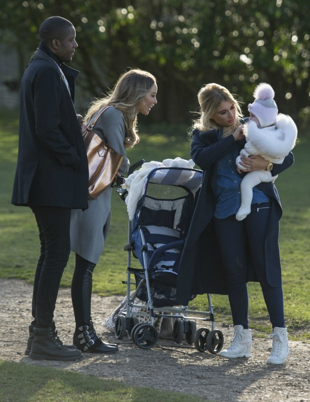 'The Only Way is Essex' cast filming, Britain - 10 Mar 2015 Lauren Pope and Vas J Morgan meet up with Billie Faiers and Nelly in the park