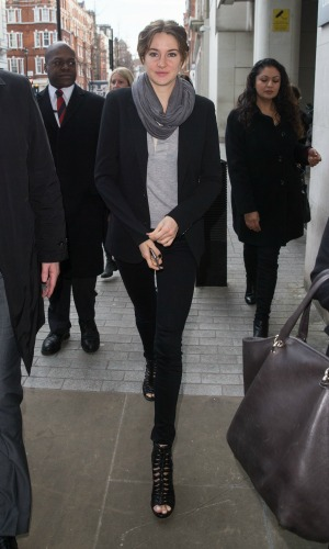 Shailene Woodley pictured arriving the Radio 1 studio to appear as a guest on the Nick Grimshaw Breakfast Show. 11 March 2015