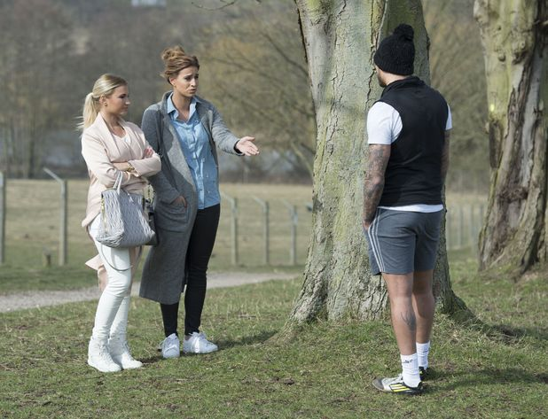 Ferne McCann and Mario Falcone confront each other during TOWIE filming, Essex 13 March
