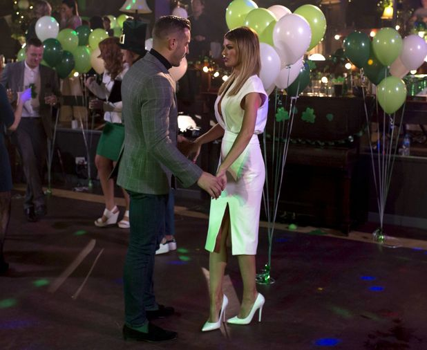 The Only Way is Essex's Elliott Wright and Chloe Sims hold hands on the dance floor at a St. Patrick's Day party - 15 Mar 2015.