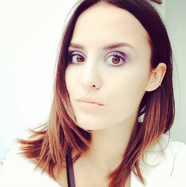 Lucy Watson rocks purple eyeshadow while shooting for a secret project, 17 March 2015