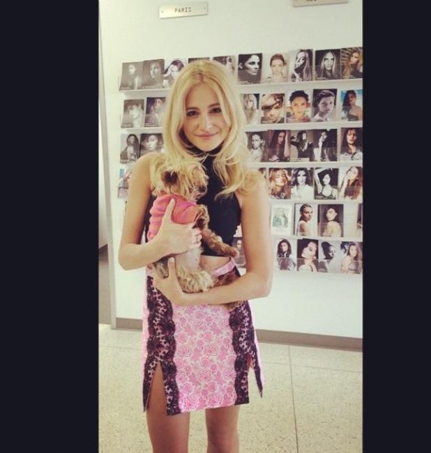Pixie Lott in pink skirt in LA, Instagram, 18/3/15
