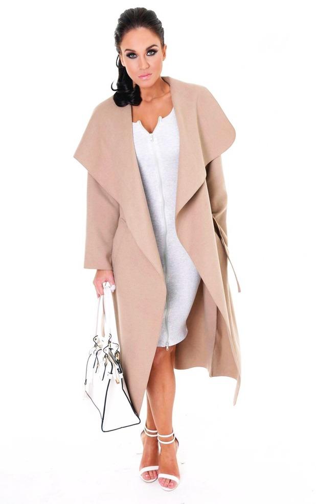 Vicky Pattison in camel coat from Honeyz.com range