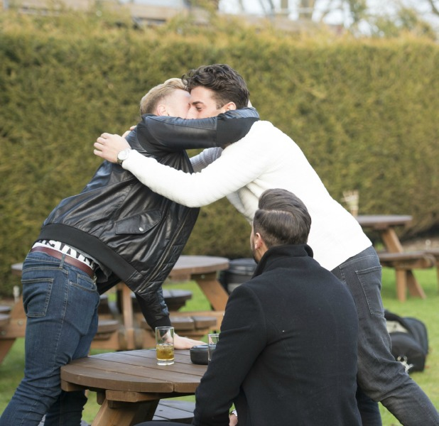 'The Only Way is Essex' cast filming, Britain - 17 Mar 2015 Tommy Mallet, Mario Falcone and James Argent meet at pub