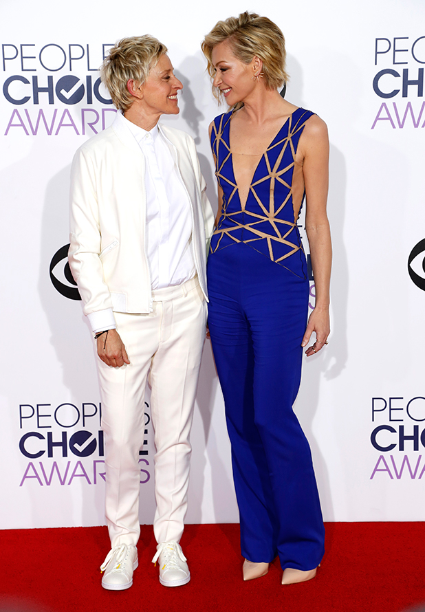 Ellen DeGeneres and Portia De Rossi, The 41st Annual People's Choice Awards - Arrivals, 2014