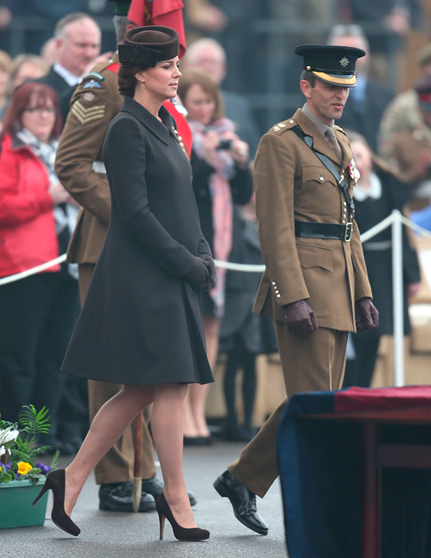 Prince William, Duke of Cambridge and Catherine, Duchess of Cambridge attend the St Patrick's Day parade at Mons Barracks, 17 March 2015