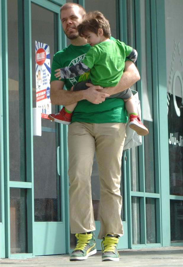 Perez Hilton and his son Mario arriving at children's activity class in West Hollywood, 17 March 2015