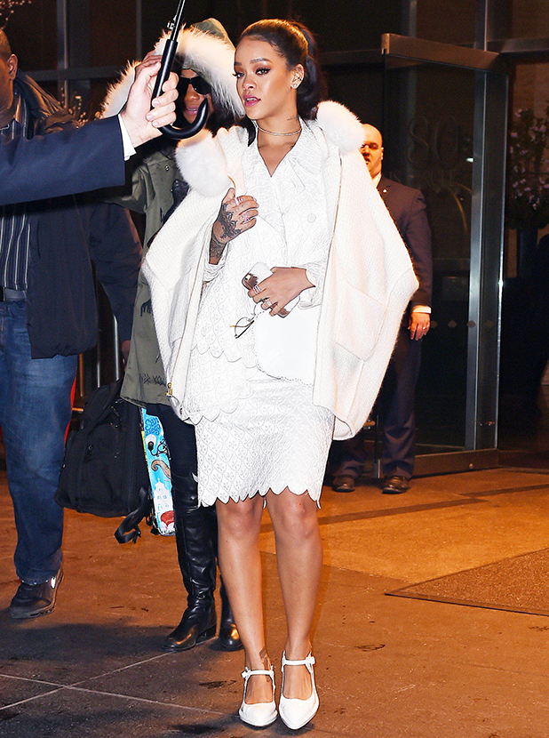 Rihanna is seen on March 14, 2015 in New York City. (Photo by NCP/Star Max/GC Images)