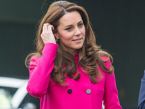 Pregnant Kate Middleton shines in pink on final day of work before baby