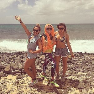Charlotte Crosby, Holly Hagan and Sophie Kasaei hike on holiday, Instagram 25 March