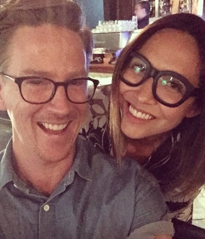 Myleene Klass poses with hairdresser Ben Cooke after having her hair cut into a self-named 'Klob' – Ben created VB's Pob, 22 March 2015