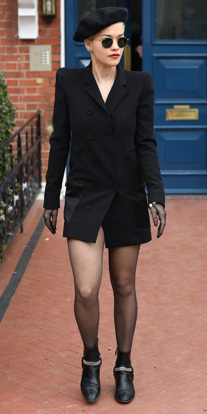 Rita Ora leaving her home in an all black outfit, 28 March 2015
