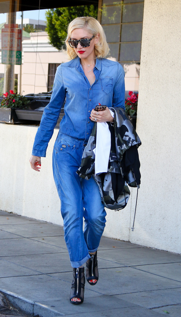 Gwen Stefani rocks the double denim trend while out in LA (25 March)