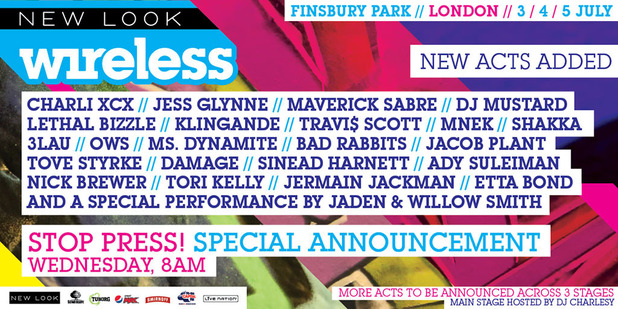 Wireless announcement features Willow and Jaden Smith, Damage, Jermain Jackman and OWS -  22 March 2015.