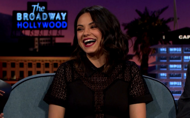 Mila Kunis works high street playsuit on The Late Show (22 March)