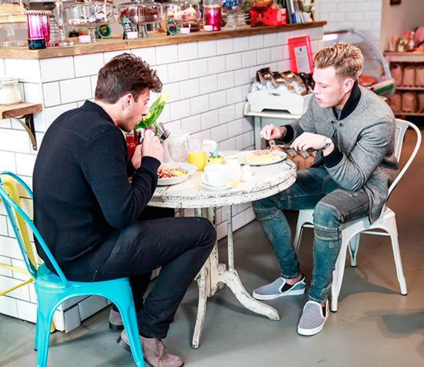 The Only Way is Essex' cast filming, Britain - 23 Mar 2015 Tommy Mallet and James Argent having lunch