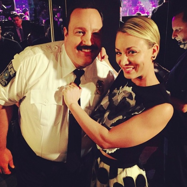 Kaley Cuoco-Sweeting and actor Kevin James pose for a snap behind the scenes at Nickelodeon Awards, 28 March 2015