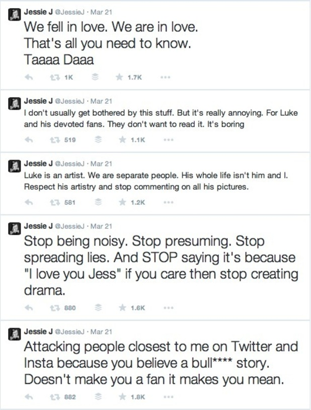 Jessie J rant on Twitter about romance with Luke James - 21 March 2015.