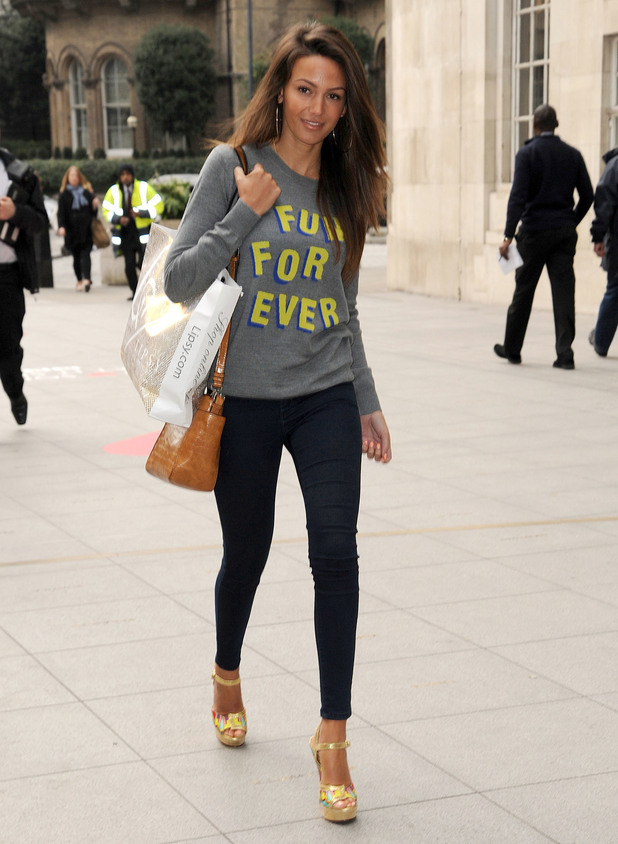 Michelle Keegan arrives at Radio 1, BBC studios, London 24 March
